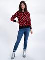 garcia trui met panterprint l90041 roze-rood