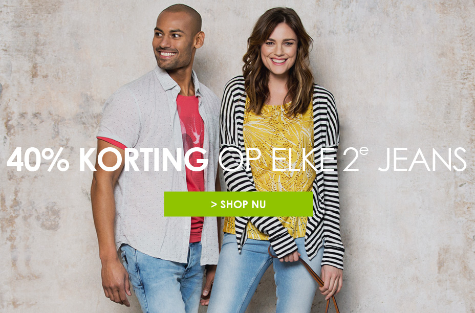 Shop nu: 40% korting op elke 2e jeans