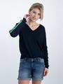 garcia trui met gestreepte tapes o00042 donkerblauw