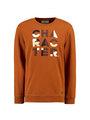 garcia sweater met opdruk l91065 oranje-bruin